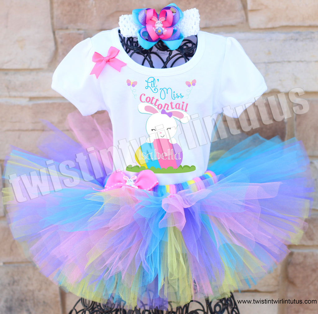 Lil Miss Cottontail Easter Tutu Outfit with Hair Bow