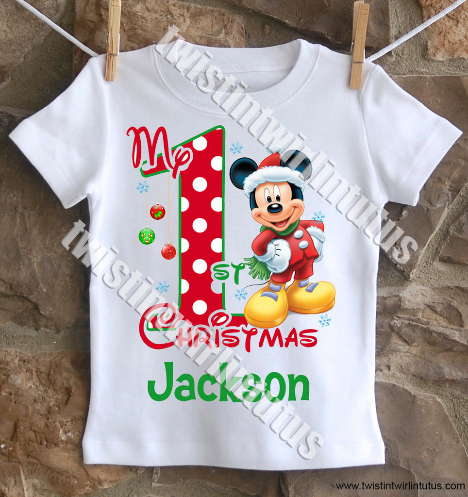 Boys Mickey Mouse First Christmas Shirt