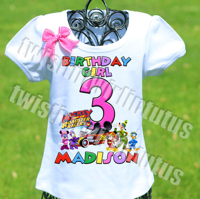 Girls Mickey and the Roadster Racers Birthday Shirt