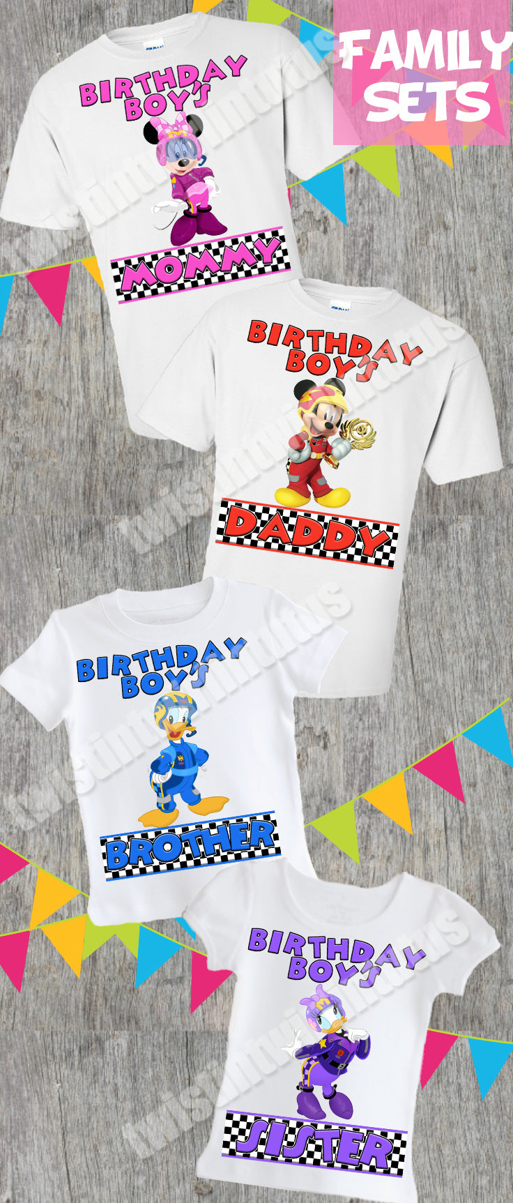 Mickey and the Roadster Racers Family Birthday Shirt Set