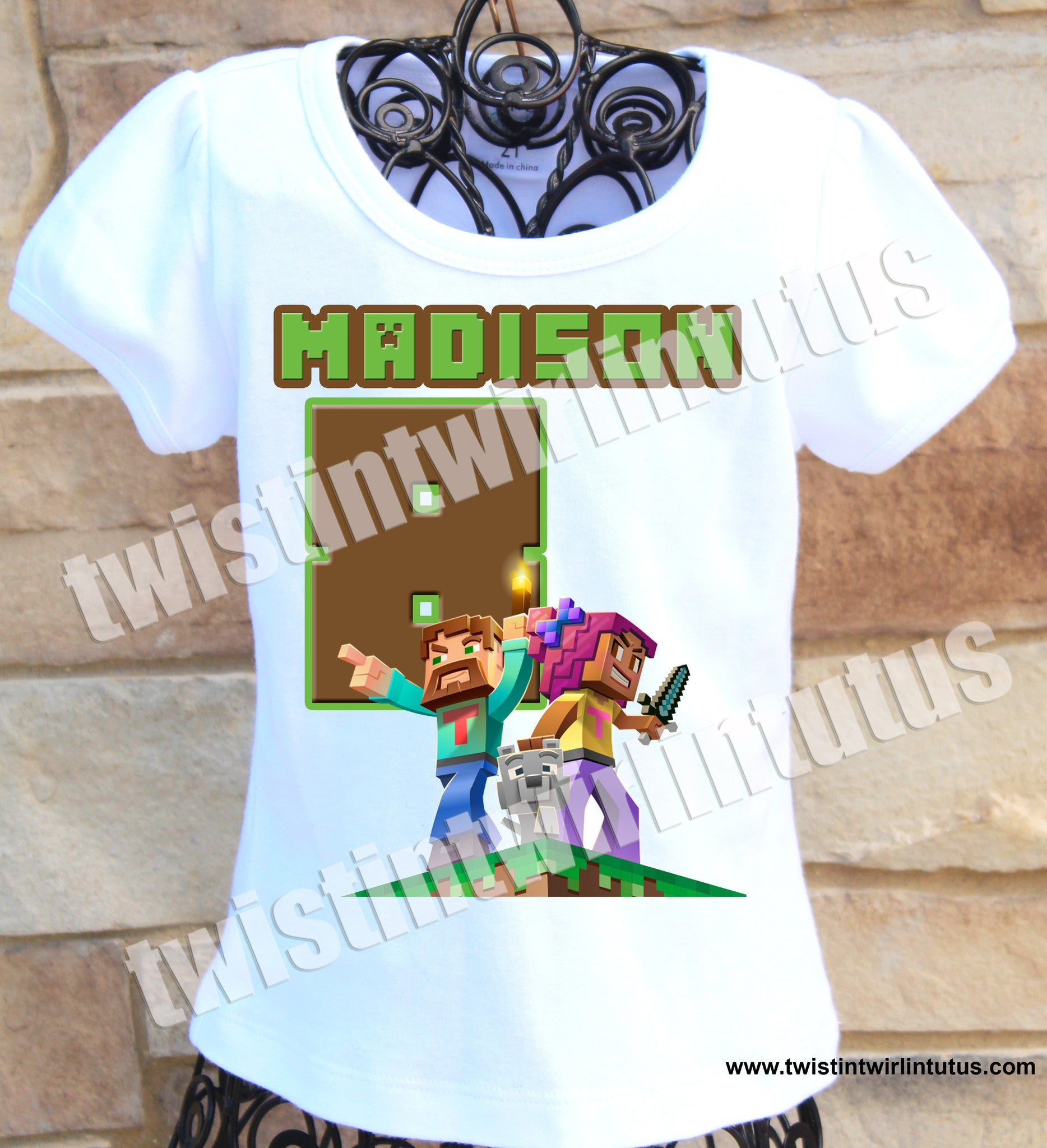 Girls Minecraft Birthday Shirt