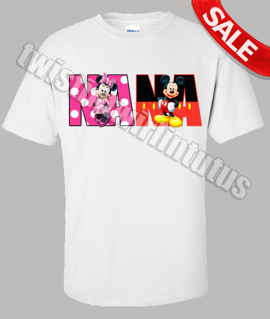 Mickey and Minnie Nana Birthday Shirt