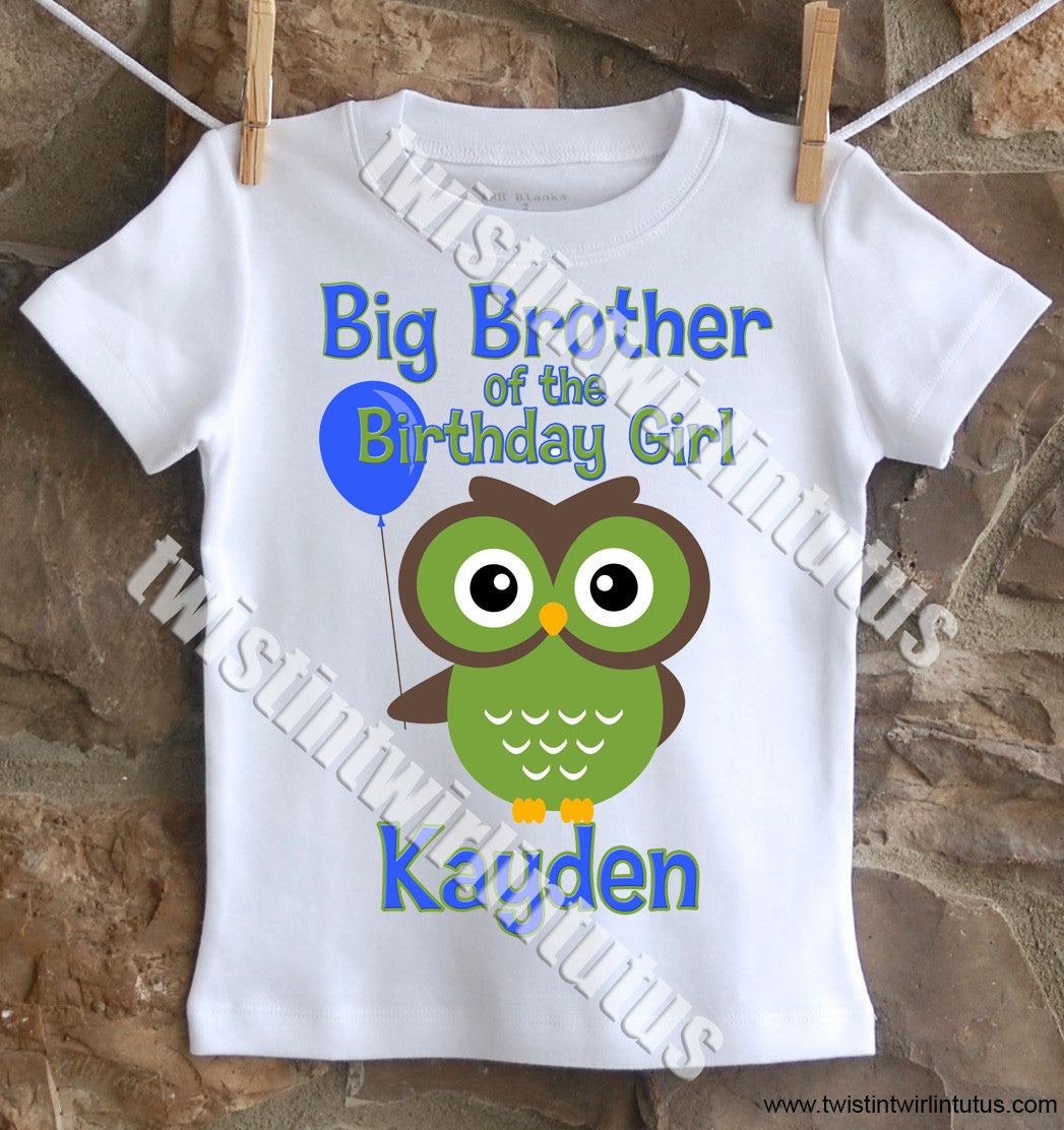 Owl Brother Birthday Shirt