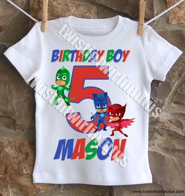 Boys PJ Mask Birthday Shirt
