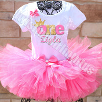 Pink and Gold First Birthday Tutu Outfit