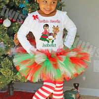 Girls Christmas Tutu OUtfit Santas Sweetie Dark