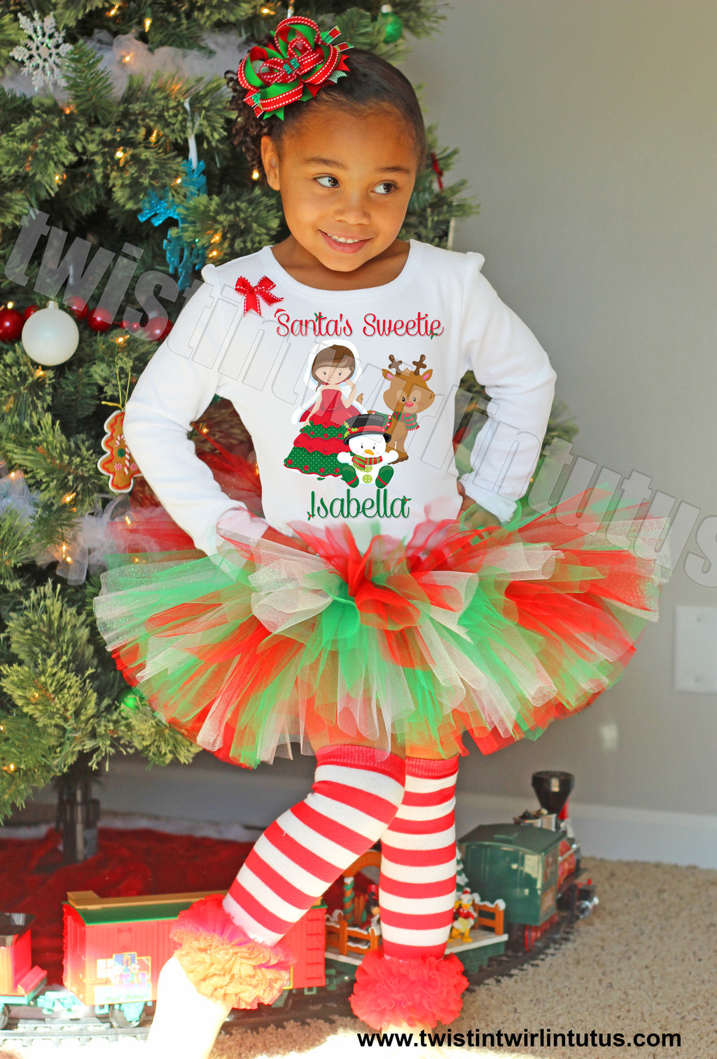 Girls Christmas Tutu OUtfit Santas Sweetie Brunette