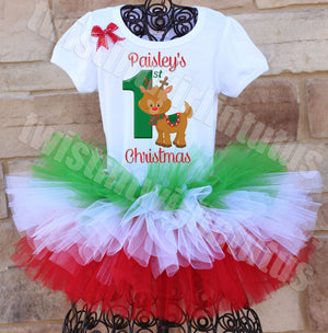 Tiered First Christmas Tutu Outfit Reindeer