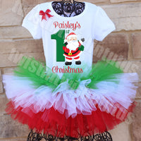Tiered First Christmas Tutu Outfit Santa