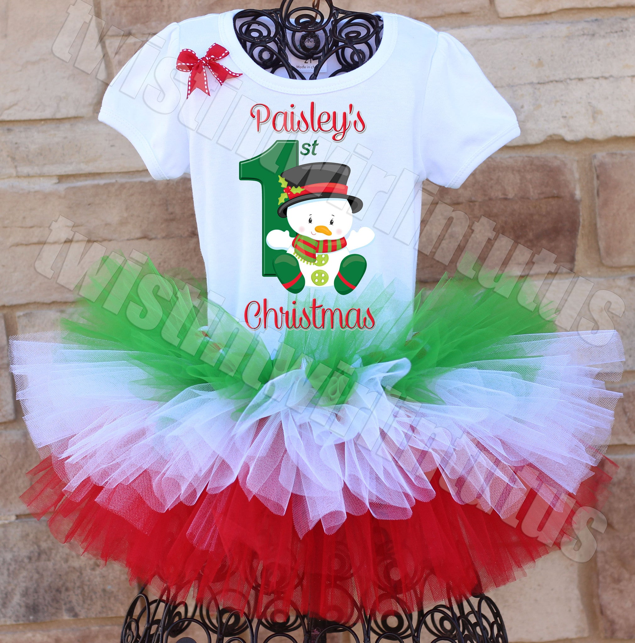 Tiered First Christmas Tutu Outfit Snowman
