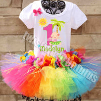 rainbow hawaiian 1st birthday outfit