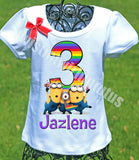 Rainbow Minion Birthday Shirt