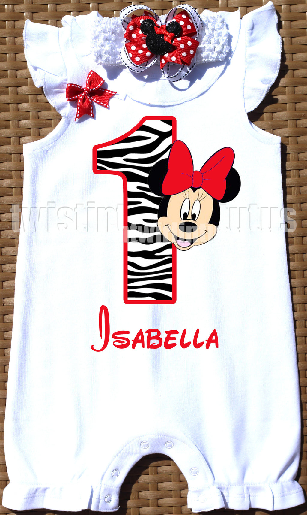 Red Zebra Minnie Mouse Birthday Romper