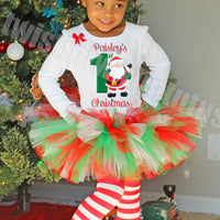 Girls First Christmas Tutu Outfit Santa