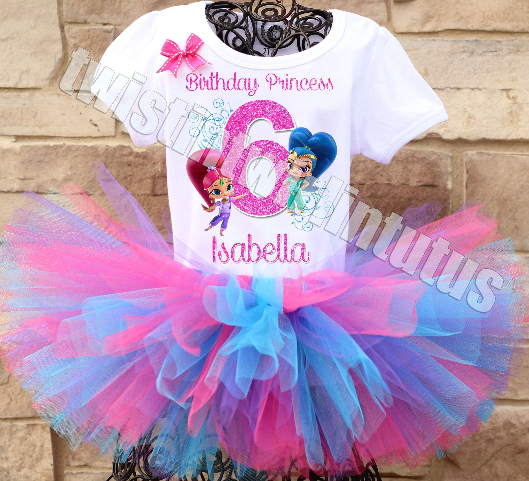 Shimmer and Shine Dress 2nd Second 2 birthday Shirt  Personalized  2 Pc Tutu outfit Fuchsia Fast shipping +NAME+