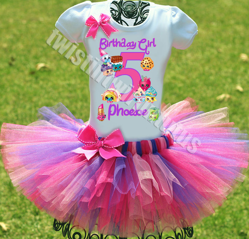 Shopkins Baby Dress +NAME+ 3rd Third 3 Birthday Shirt Personalized  2 Pc Tutu Outfit Yellow Fast Shipping