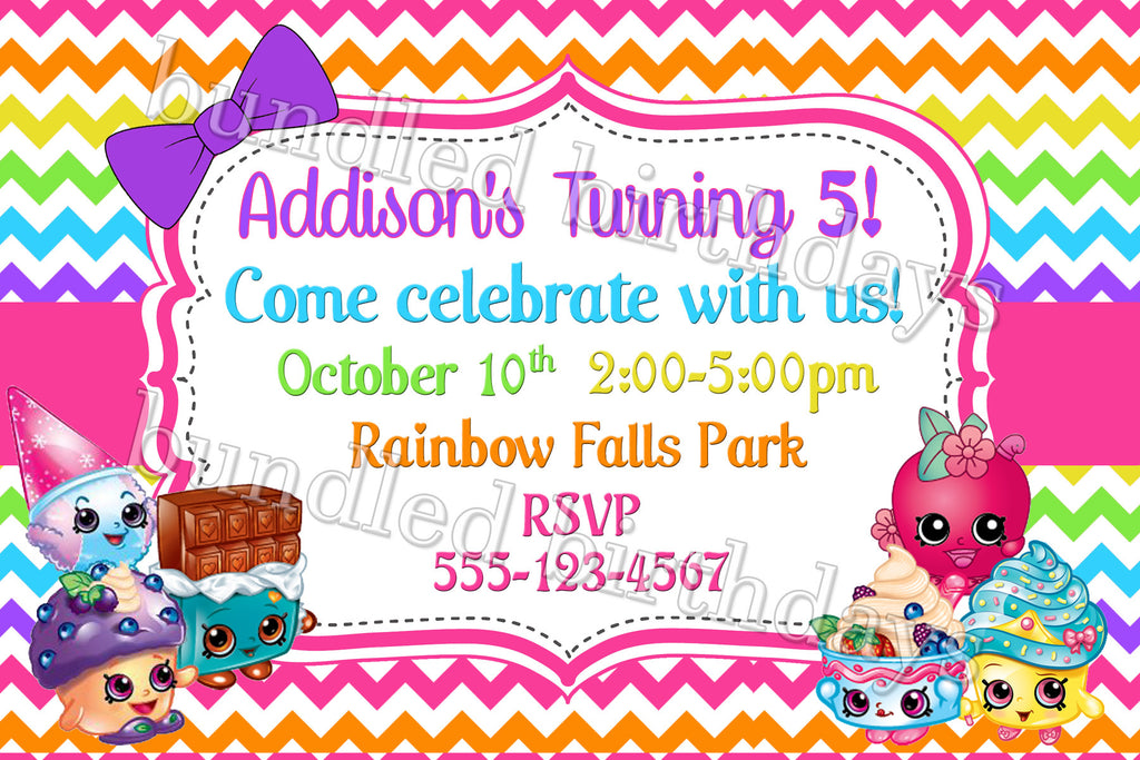 Rainbow Shopkins Birthday Invitations