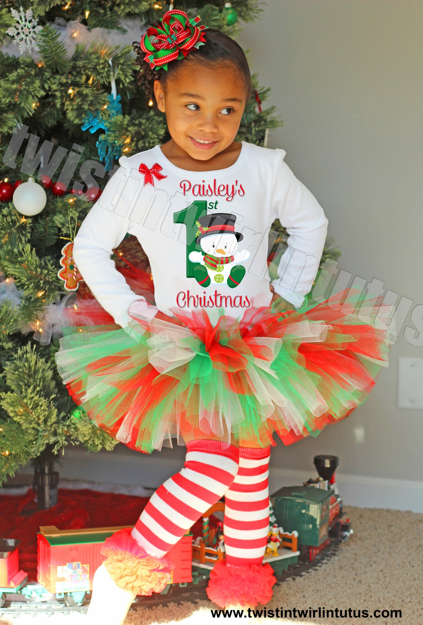 Girls First Christmas Tutu Outfit Snowman