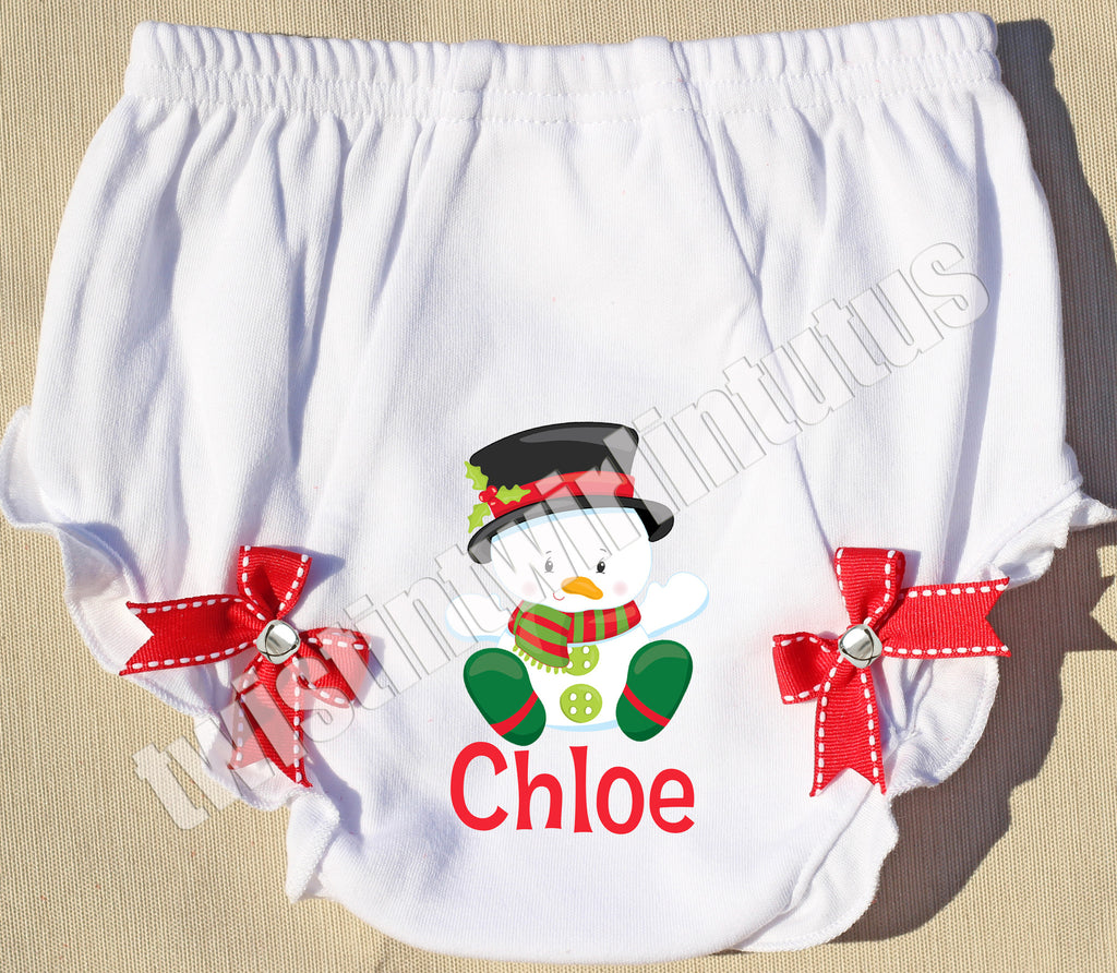 Christmas Jingle Bell Bloomers Snowman