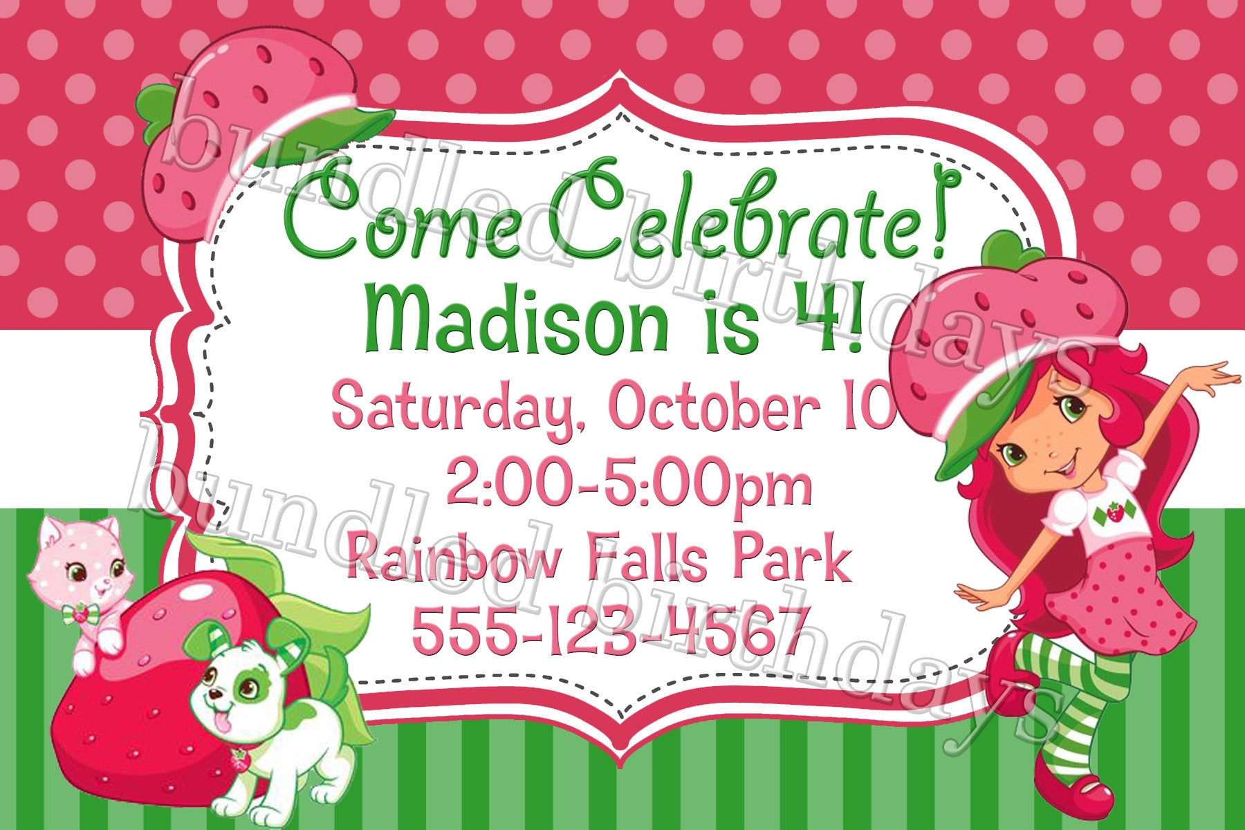 Strawberry Shortcake Birthday Invitation Digital Download Twistin