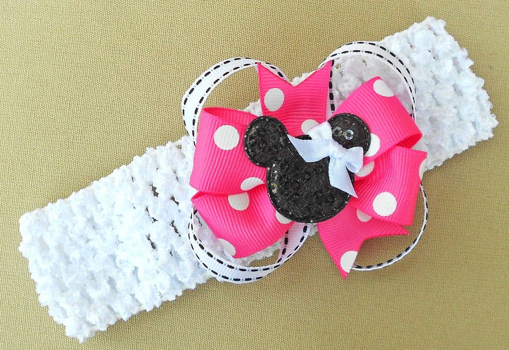 Pink Minnie Mouse Hair Bow Headband