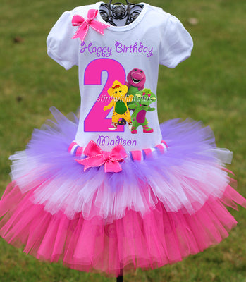 Barney Birthday Tiered Tutu Outfit
