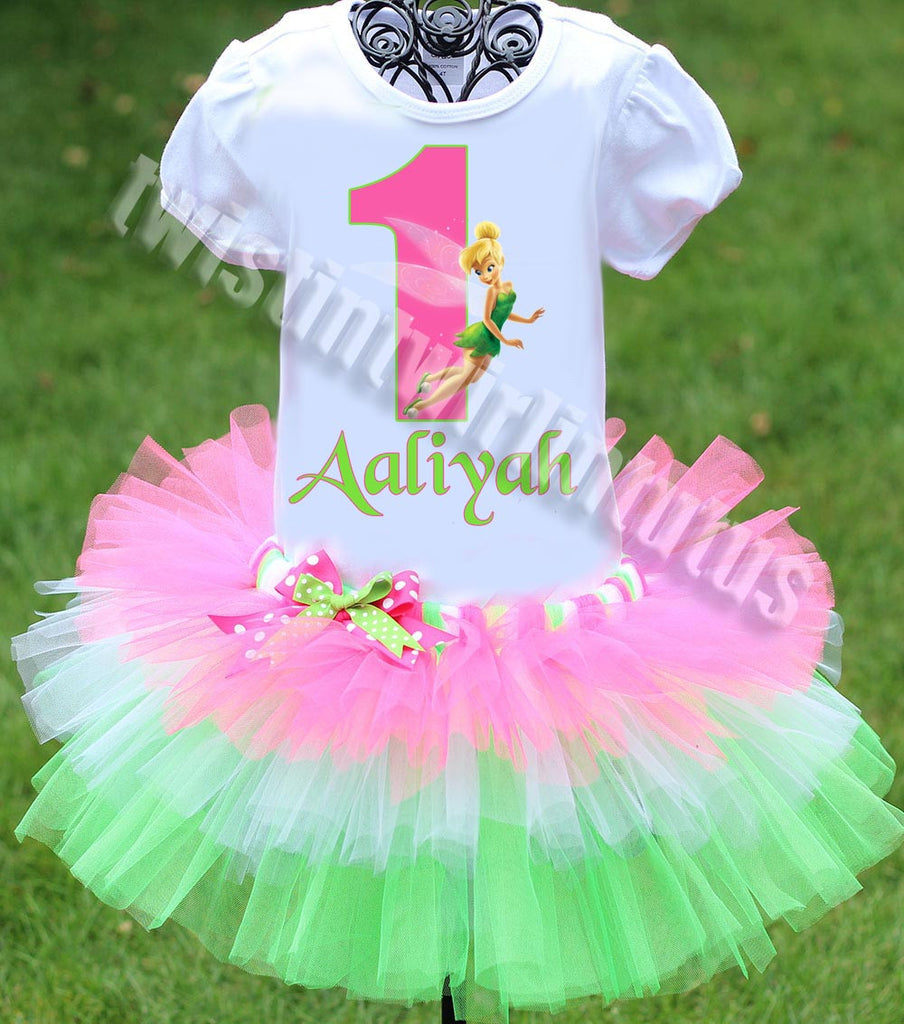 Tinkerbell Birthday Outfit Tiered Tutu