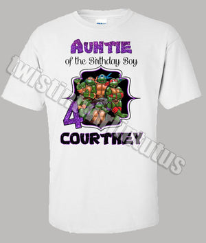 Adult Ninja Turtles Birthday Shirt Aunt