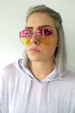 Quay Muse Fade Sunglasses SILVER/PINK YELLOW