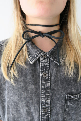 Fit To Be Tied Leather Necklace BLACK - KISSUE