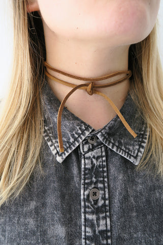 Fit To Be Tied Leather Necklace BROWN - KISSUE