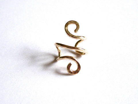 14K Gold Filled Ear Cuff, Hand Hammered Solid Silver