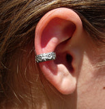 Embossed Flower Silver Ear Cuff