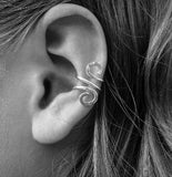 Sterling Silver Ear Cuff, Hand Hammered Solid Silver