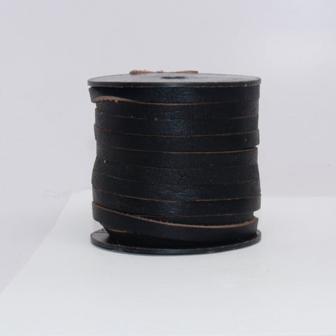 Indian Leather:  5MM Flat Natural Black