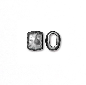 7 x 5.5MM Barrel Crimp Bead:  Pewter :   4 x 2MM Hole