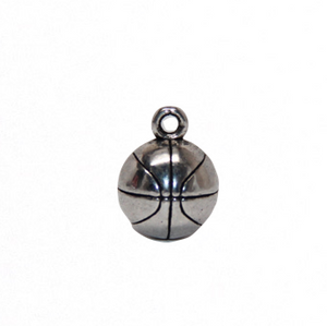 Basketball 3D Charm - Antique Silver