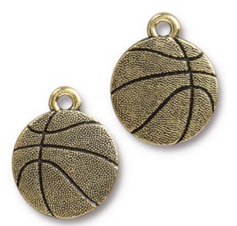 Basketball Charm - Antique Gold Plate - TierraCast (CLEARANCE)