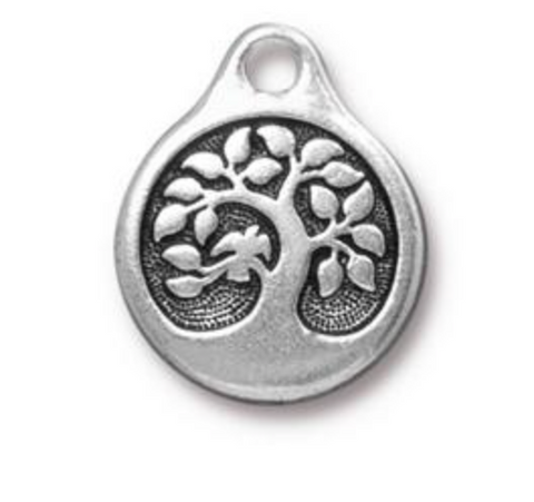 Bird in a Tree Charm  - Antique Silver - TierraCast