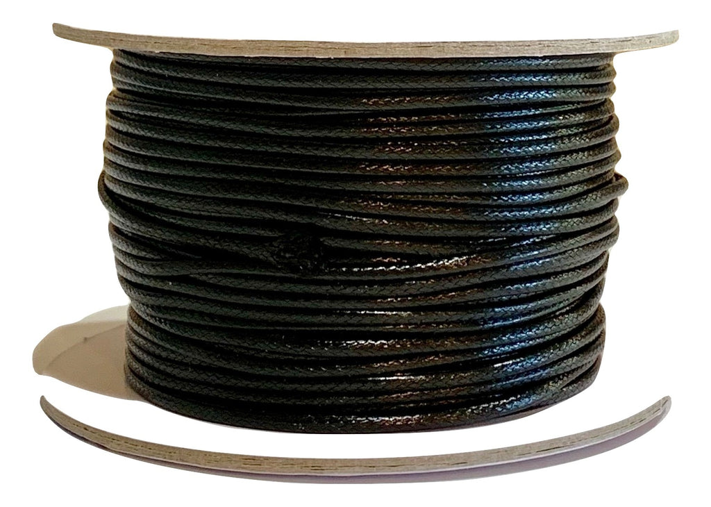 Black - Wax Polyester Surfer Cord - 45 or 50 yd rolls