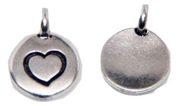 Circle Heart Charm - Silver - TierraCast
