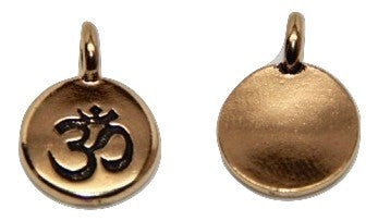Circle Ohm Charm - Antique Gold
