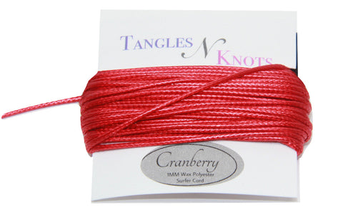Cranberry - Wax Polyester Surfer Cord - 5 yard bundle