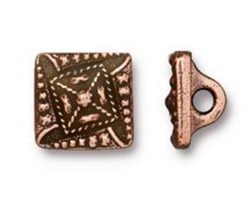 Button:  Czech Square by Tierracast:  Copper