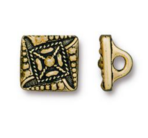 Button:  Czech Square by Tierracast:  Gold