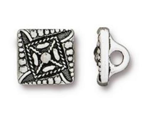 Button:  Czech Square by Tierracast:  Antique Silver