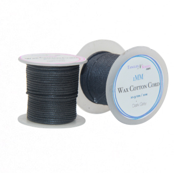 Wax Cotton Cord:  DARK GREY - 10M Spool