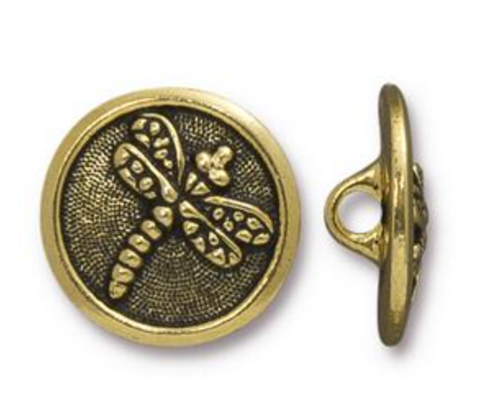 Button:  Dragonfly by Tierracast:  Gold