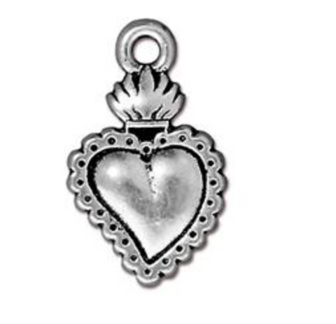 Drop, Heart Milagro - Silver - TierraCast