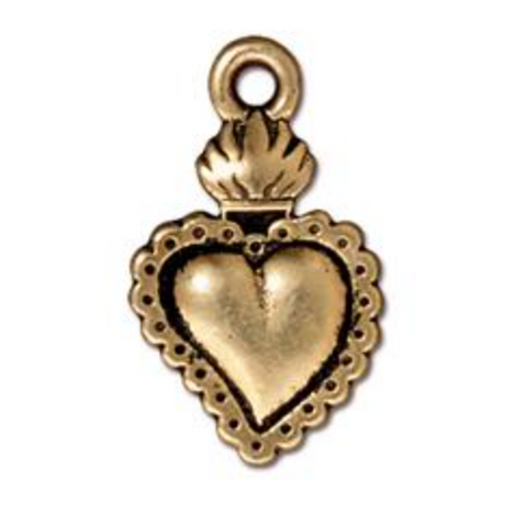 Drop, Heart Milagro - Gold - TierraCast